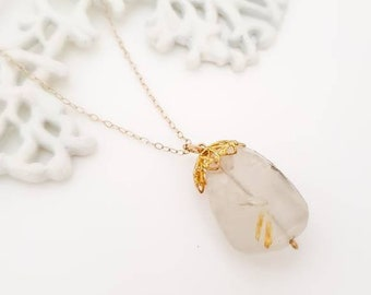 Boho gold necklace with Rutilated quartz 14k gold filled necklace - Healing crystals necklace, faceted rutilated quartz nugget necklace