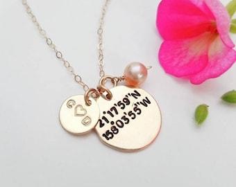 Custom Coordinate necklace, latitude longitude necklace, gold coordinate necklace, bf and gf necklace, gps coordinate, wedding jewelry