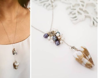 Modern beachy shell necklace - Lariat shell necklace made in Hawaii, Hawaiian shell necklace, beach jewelry, sea shells, beachy jewelry