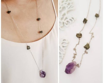 Amethyst and pyrite sterling silver necklace - Long boho necklace, long layering silver necklace, bohemian crystals necklace, healing stone