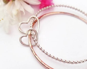 Mixed metal heart bracelet - Rose gold and sterling silver bracelet, mixed metal bangle, mommy and me, heart bracelet, modern heart bracelet