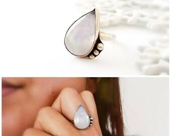 Sterling silver moonstone teardrop ring - teardrop statement ring, .925 sterling silver ring, size 6, cocktail ring, minimalist ring