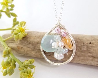 Beach wedding shell necklace - Unique shell jewelry made in Hawaii by Tidepools Jewelry, Beachy jewelry, Summer jewelry, OOAK, Tide pools