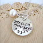 Latitude and Longitude coordinates necklace - with date, remembrance necklace, anniversary jewelry, wedding date necklace, geocaching