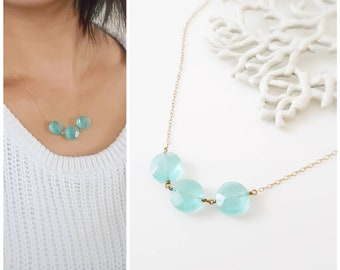 Blue quartz gold necklace - beachy blue 14k gold-fill necklace, dainty everyday jewelry, gold statement necklace, layering necklace
