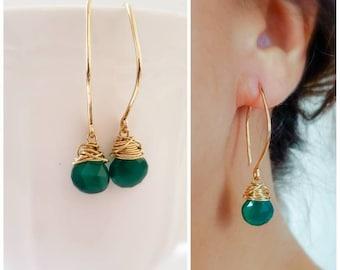 Green onyx gold earrings - Dangling earrings with faceted onyx, modern gold earrings, everyday earrings, onyx earrings, by Tidepools