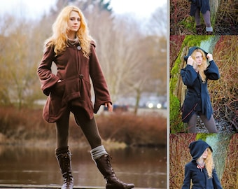 Isolde Fleece Jacket, Elven Woodland Fairytale Hoodie, Festival Goddess Burning Man, Vegan Boho Hippie Coat, Designer Fashion