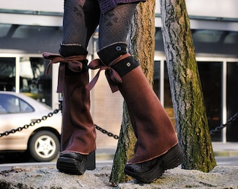 Brown and Black Fleece Steampunk Spats, Knee High Shoe Boot Covers Leg Warmers Accessory