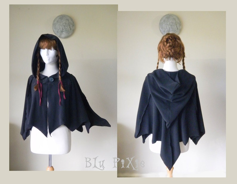 49a0be7b221f Black bat wing short hooded cape fleece cloak fairytale