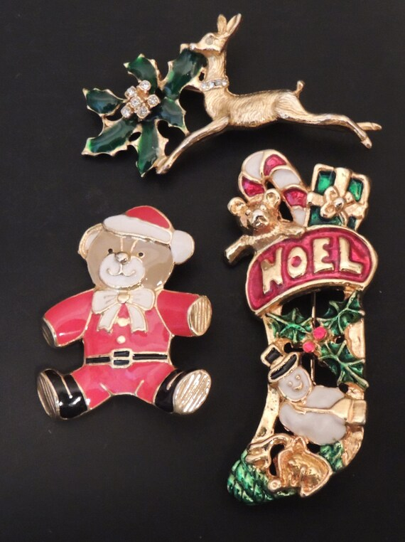 Vintage Christmas Brooch Pin Lot, Christmas Santa