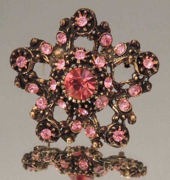Vintage pink rhinestone pin