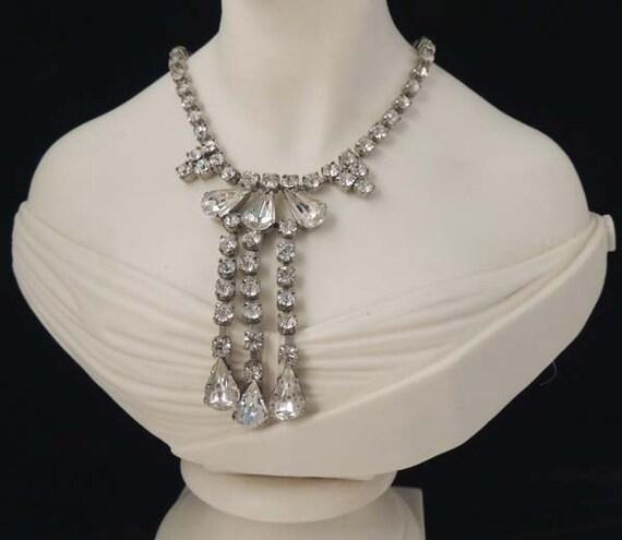 Vintage Rhinestone Necklace, Rhinestone Bridal Nec