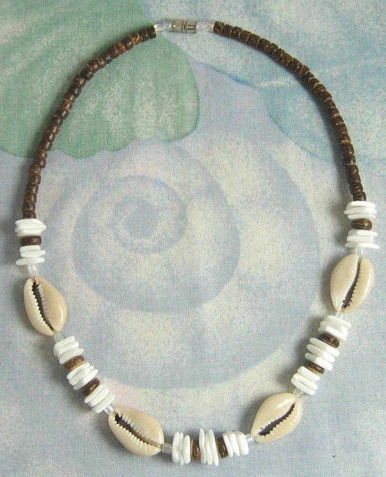 8f542789dea387 Native Treasure Cowrie Shell Brown Coco White Chips Puka | Etsy