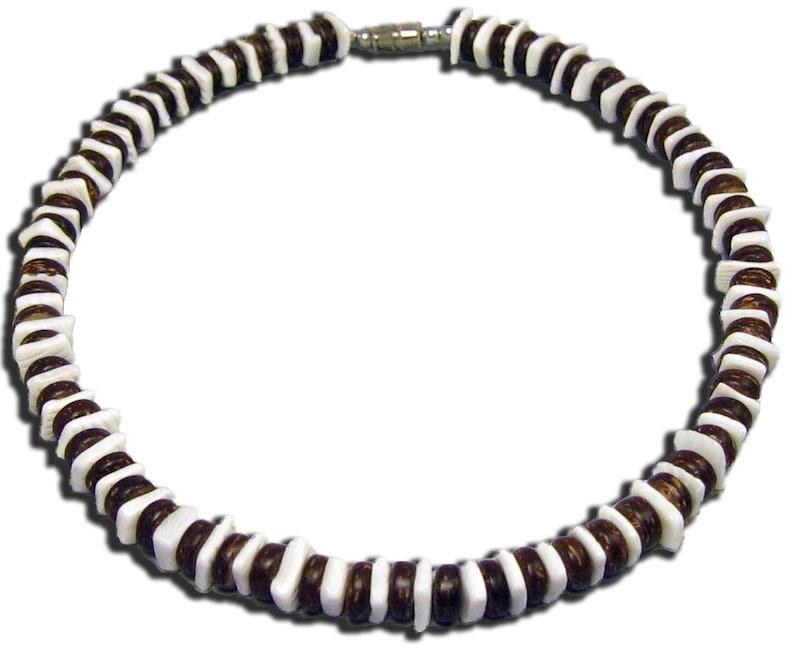 2b4f9ca220e655 Native Treasure Brown Coco White Chips Puka Shell Necklace | Etsy