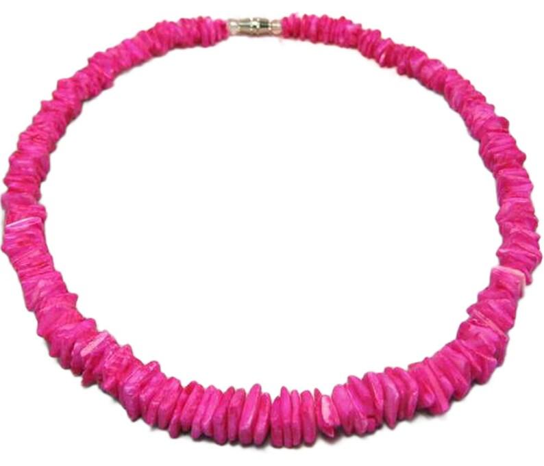 9a7277f43b212b Native Treasure Hot Pink Chips Puka Shell Necklace or | Etsy