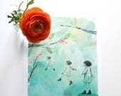 illustration - print - poster - signed limited edition - RONJA ROVARDOTTER - from the Astrid Lindgren's book - girl room - ready to hang