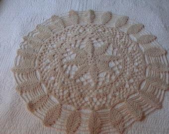 """Charming Farmhouse Vintage Linens ~ Crochet Centerpiece ~ Doilies ~ Creamy Caffe Latte 24"""" x 24"""""""