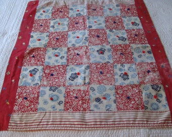 Vintage Small Quilt Adorable Hand Tied Feedsack Quilt ~ Feed Sack