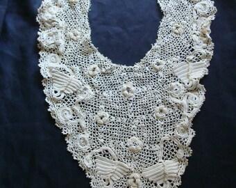 Antique Hand Made Lace Collar ~ Irish Rose ~ Shamrock ~ Crochet