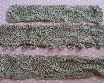 Lot of Vintage ~ Antique Lace Irish Rose and Shamrock Hand Crochet Trim ~ 3 Pieces