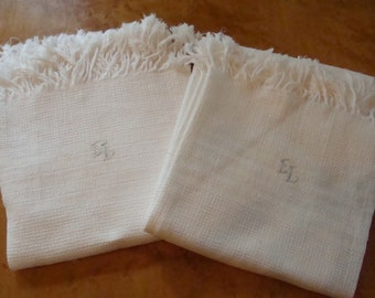 Pair of Antique/Vintage Waffle Weave Woven Towels w/ ~ embroidered monogram