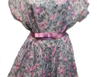 1950s Vintage Summer Dress, Vintage Cotton Dress, Shabby Chic Dress, Pink and Gray Dress