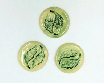 Ceramic Button, Pin or Magnet - you choose - single piece, textured leaf in soft green glaze