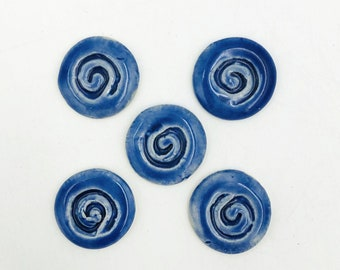 Set of 5 Ceramic Buttons or Magnets - you choose -  textured spiral cobalt blue