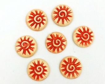 Ceramic Button, Lapel Pin or Magnet - you choose - set of 5 or single piece, textured spiral sunburst in bright orange