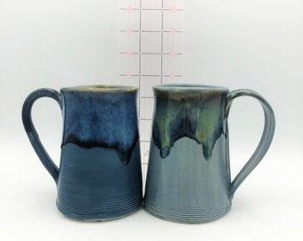 Two-toned Blue Handbuilt Ceramic Mug with yummy drippy glaze - Choose Dark Blue or Gray Blue Satin Base Glaze