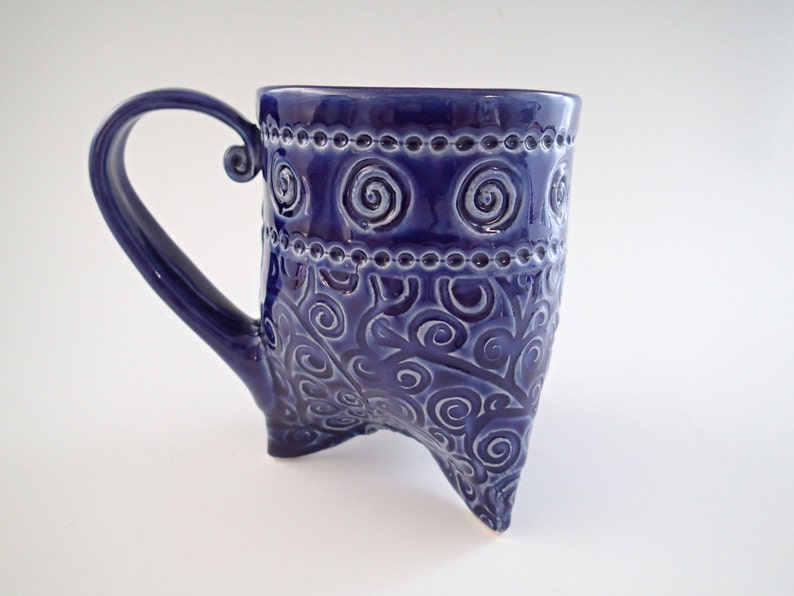abb1e359f45 Tripod Coffee Mug with Spiral Texture and Cobalt Blue Glaze