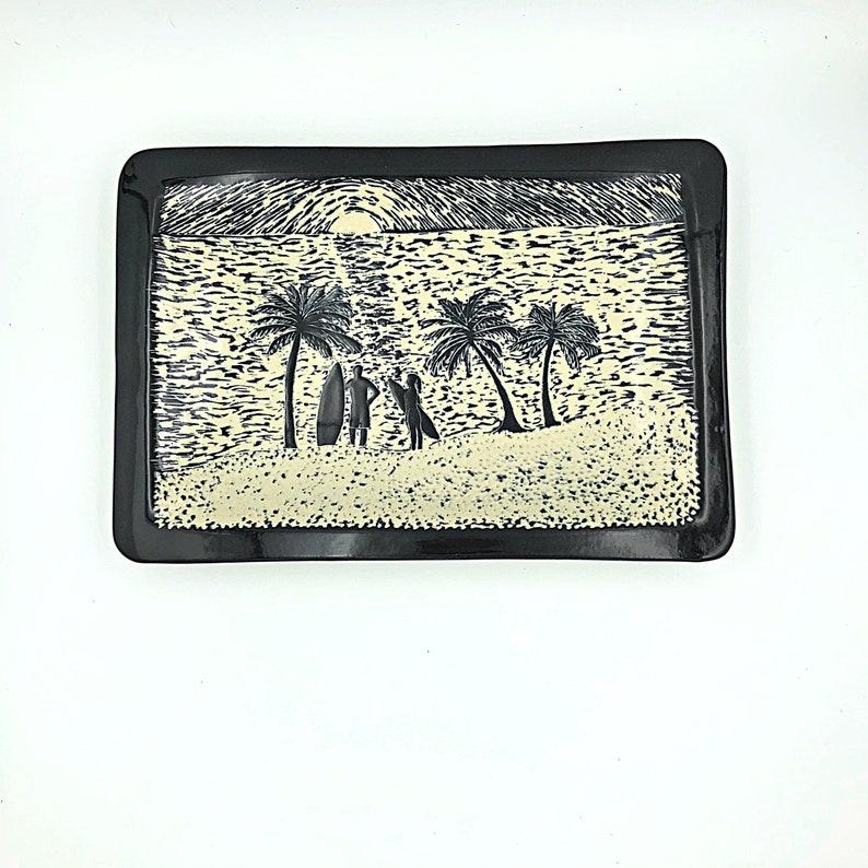Surfing Wall Art Beach House Art Ceramic Art Platter image 0