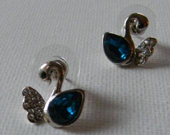 920b7ec63 Swarovski Crystal Blue Swan Earrings Handmade: Rhinestone Cluster Dangle  Earrings Free Shipping Jewelry Etsy- Hypoallergenic Post Earrings