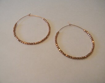 Large Copper Wire Hoop Earrings Handmade:Copper Beaded Earrings For Her-Copper Earrings Free Shipping-Bohemian Dangle Earrings-Wire Wrapped