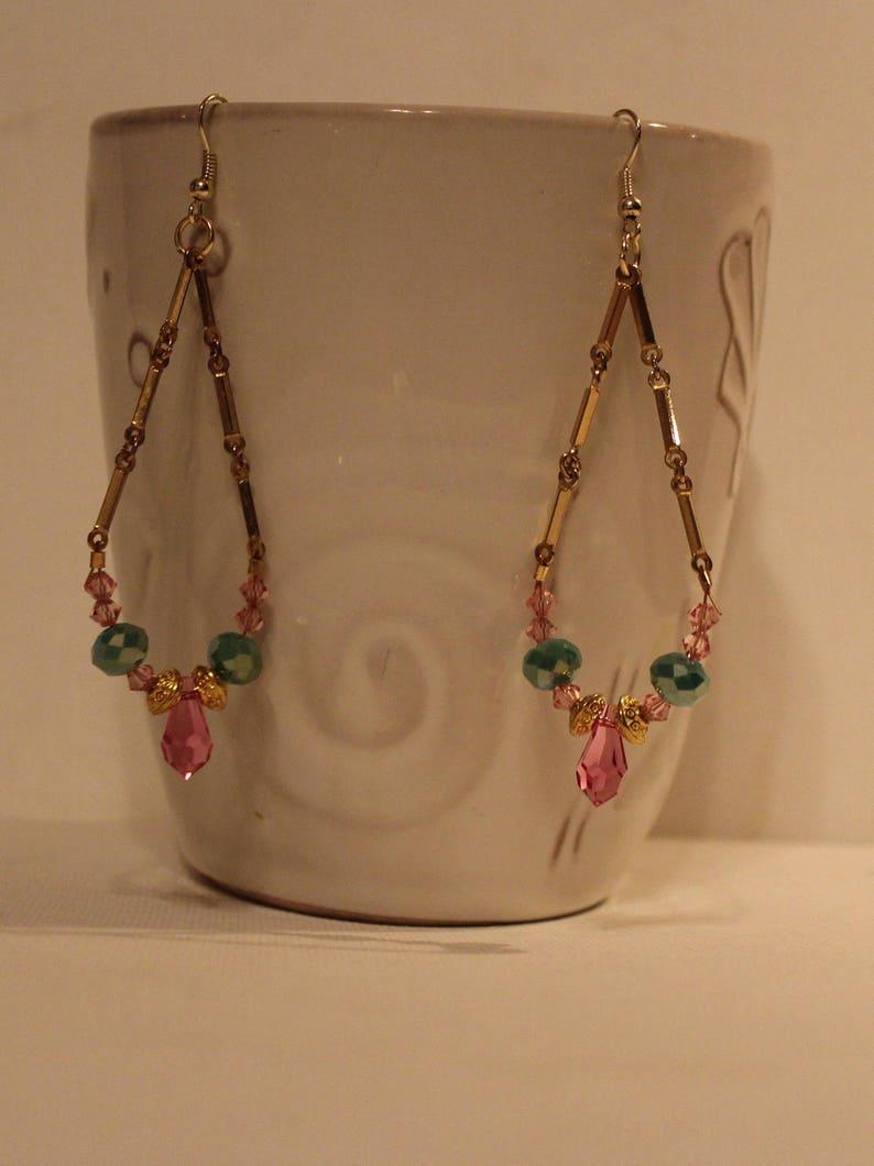 Multi Color Crystal EarringsRainbow Cluster EarringsFree ShippingBirthstone Crystal EarringsGold And Pink Dangle EarringsChandelier