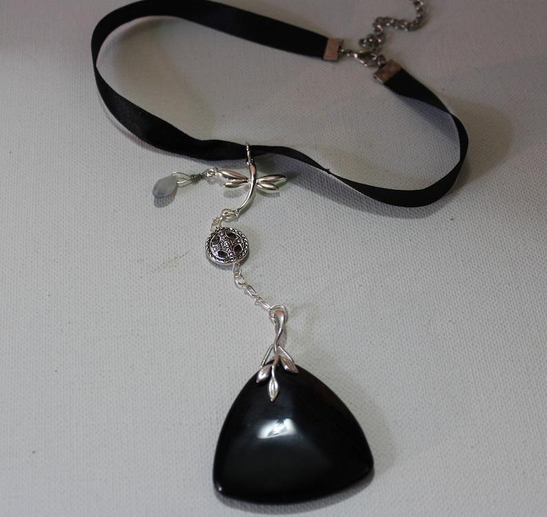 Black Agate Choker NecklaceFree ShippingSilver And Black ChokerSilver Dragonfly NecklaceBlack Gemstone ChokerFor WomenRibbon Chokers