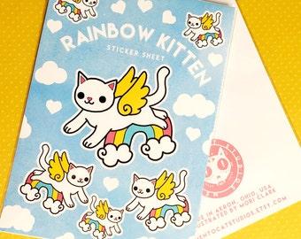 rainbow kitten - sticker sheet