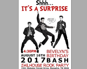 Elvis invitation Etsy