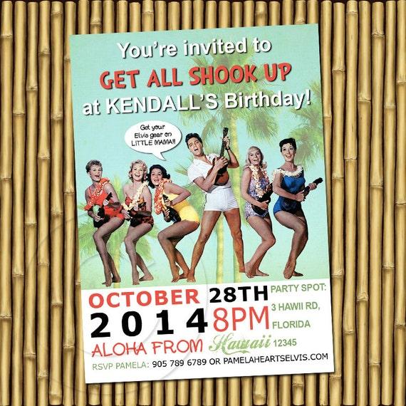 You Print Elvis Presley beach party invitation DIGITAL