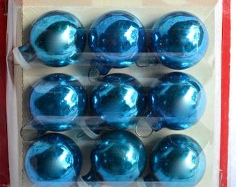 Mercury Glass Ornaments - Blue Feather Tree Balls - 25 mm - NOS