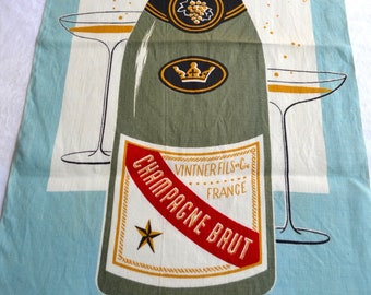 Vintage Linen Kitchen Towel - Champagne Bottle and Glasses - Martex