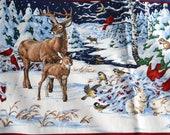 Vintage Christmas Craft Fabric - 2 Wildlife Snow Scenes - Deer Birds Fox - Cranston Cotton VIP