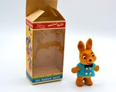 Vintage Limmer West Germany Flocked Animal Toy In Box - Bunny Rabbit Ornament Figurine