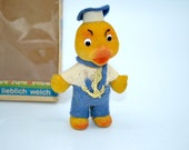 Vintage Limmer West Germany Flocked Animal Toy In Box - Yellow Sailor Duck Ornament Figurine