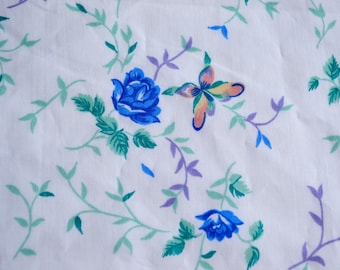 Vintage Bed Sheet - Blue Roses and Butterflies on White - Wamsutta Twin Fitted NOS