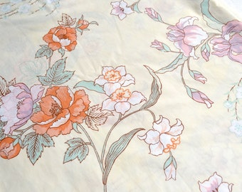 Vintage Bed Sheet - Wamsutta Japanese Garden Floral - Full Fitted NOS