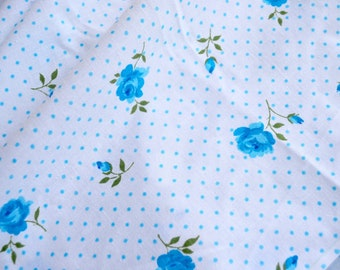 Vintage Bed Sheet - Cannon Turquoise Roses and Polka Dots - Twin Fitted NOS