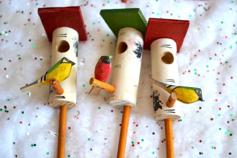 Vintage Miniature Wooden Birds And Birdhouses On Sticks Made In Sweden 3