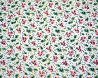 Vintage Fabric - Petite Pink and Green Vine Flowers - Cranston VIP Cotton - Half Yard