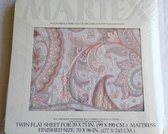 Vintage Bed Sheet - Atelier Martex Pastel Knightsbridge Paisley - Choose Twin Flat or Fitted